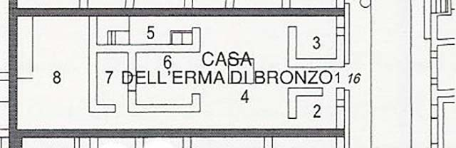 Plan of Casa dell' Erma di Bronzo or House of the Bronze Herm. 